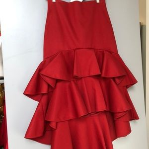 Alexis Red Ruffle Hi Lo Skirt-Multiple Sizes-NWT